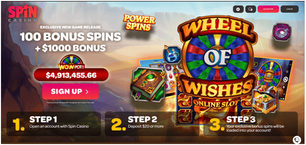 Spin Casino Wheel of wishes slots free spin bonus