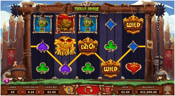 Trolls Bridge Slot features