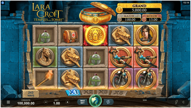 Lara Croft Temples and Tombs slots Features