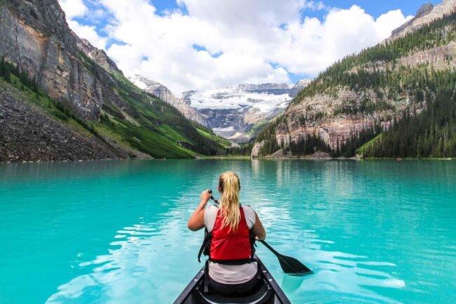 Canoe on Lake Louisein Alberta