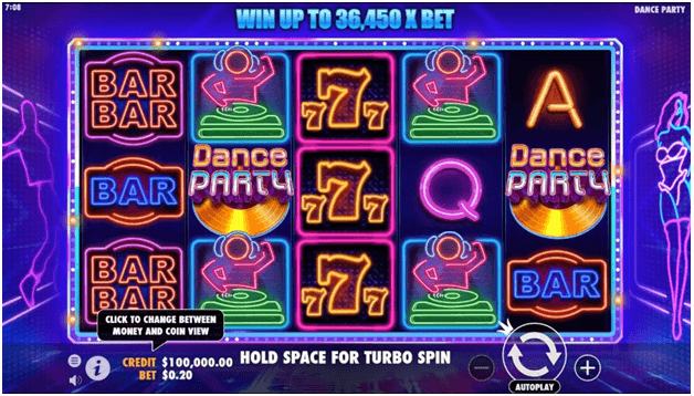Dance Party free slots Canada- Slot features