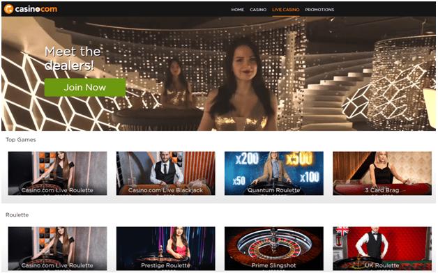 Casino.com Canadian site live dealer