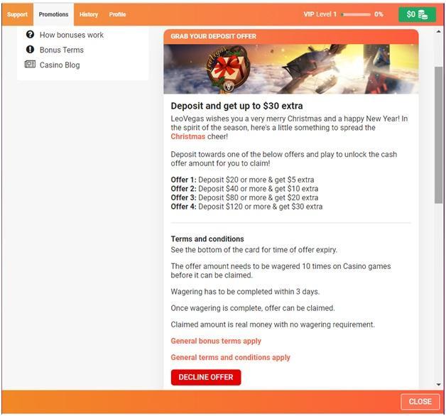 Leo Vegas Bonus offers