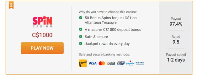 Spin Casino - $1 Casino